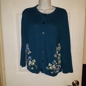 ANN TAYLOR LOFT Teal Floral Embroidered Cardigan